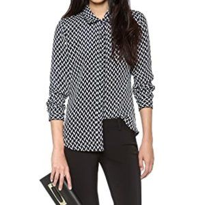 Theory Cully Black & White Chevron Silk Top L